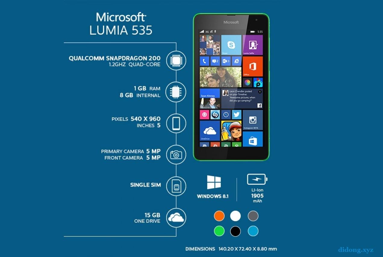 Rom gốc Lumia 535 RM-1090 2 sim