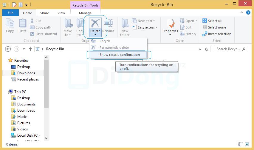 Bật thông báo xác nhận xóa trong Windows 8