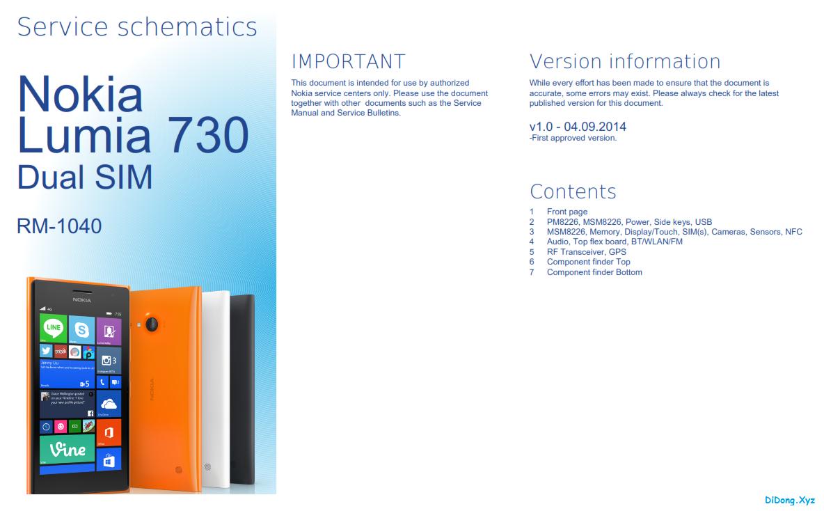 Nokia Lumia 730 Service Schematics