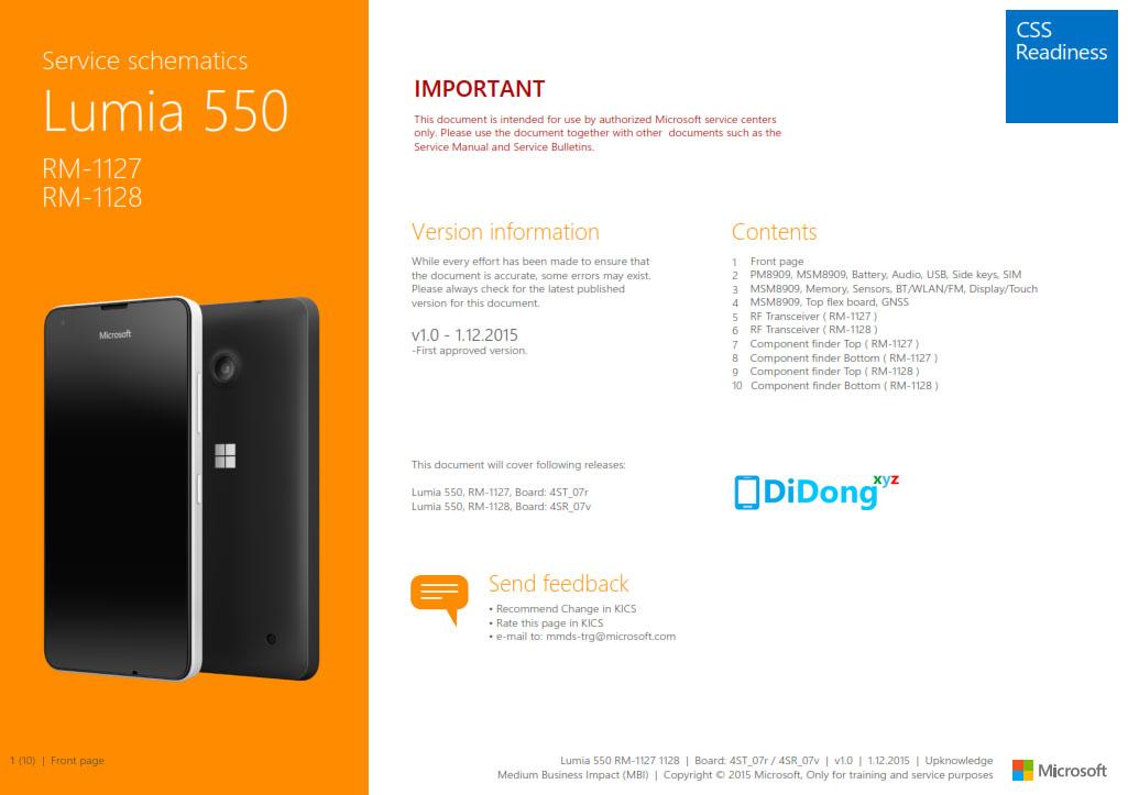 Microsoft Lumia 550 Schematics