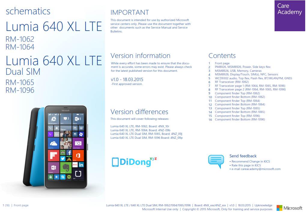Microsoft Lumia 640 XL Schematics