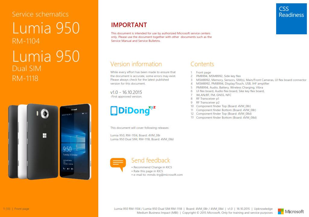 Microsoft Lumia 950 Schematics