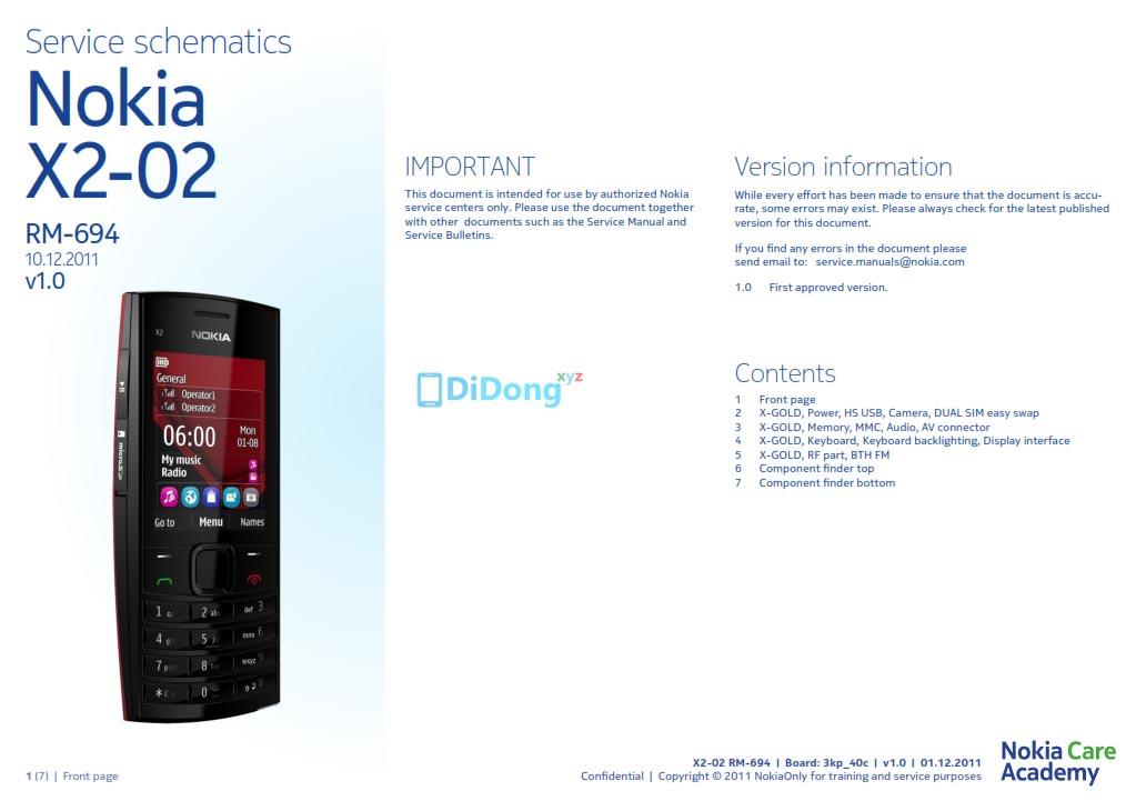 Nokia X2-02 RM-694 Schematics