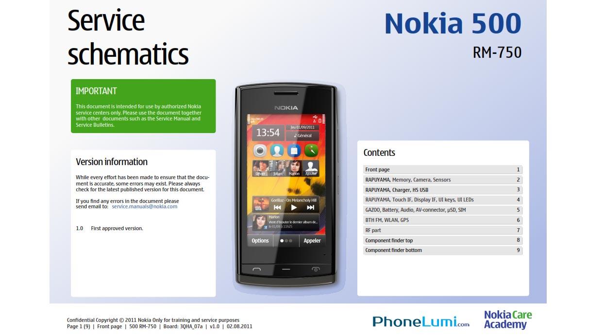 Nokia 500 RM-750 service schematics