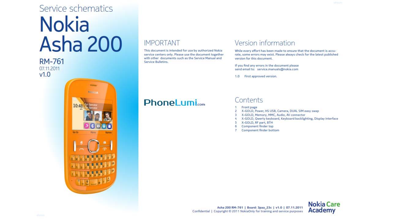 Nokia Asha 200 RM-761 schematics