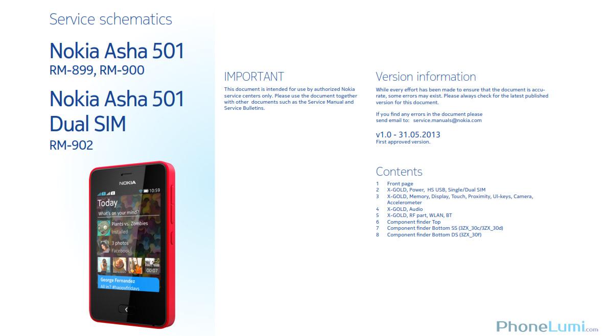 Nokia Asha 501 RM-899 RM-900 RM-902 schematics