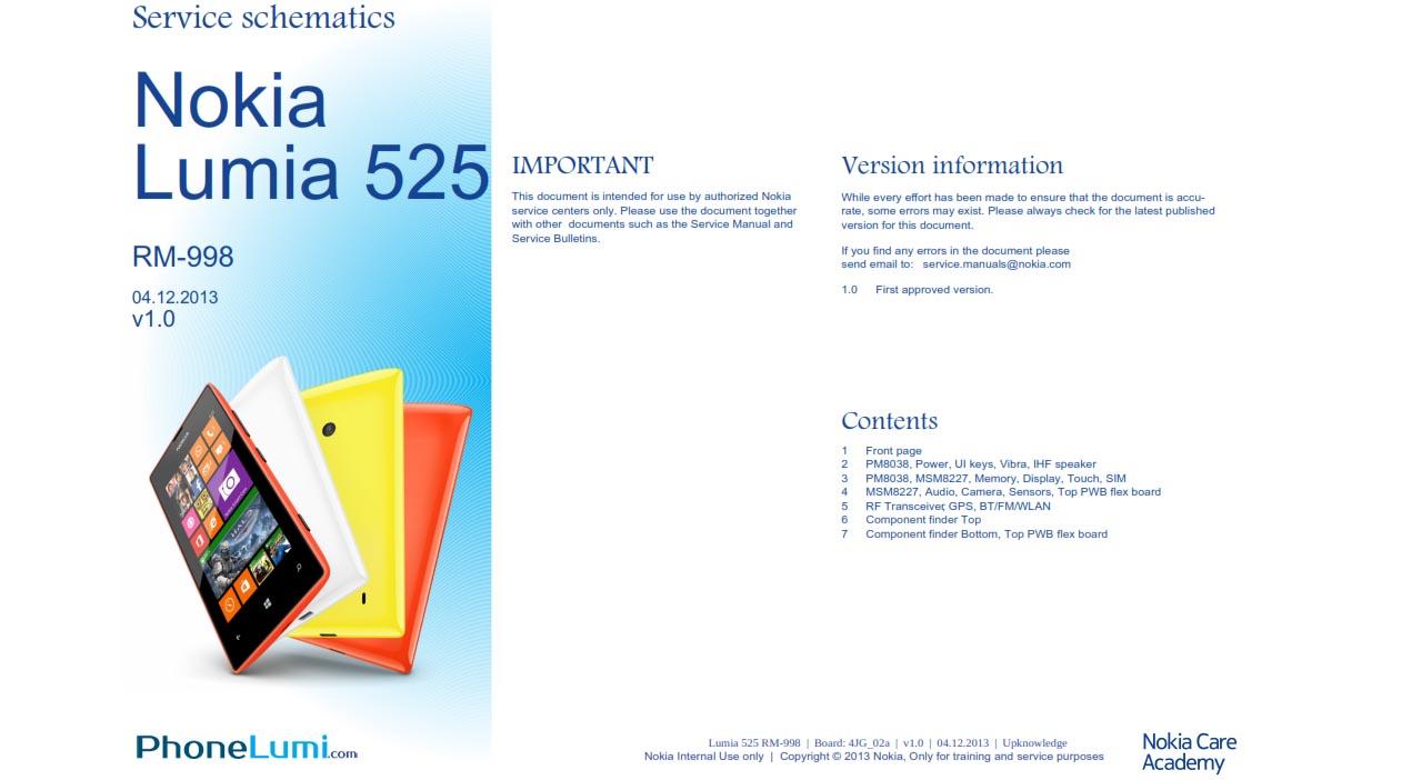 Nokia lumia 525 service schematics