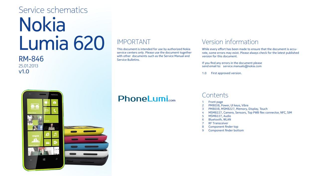 Nokia Lumia 620 RM-846 schematics