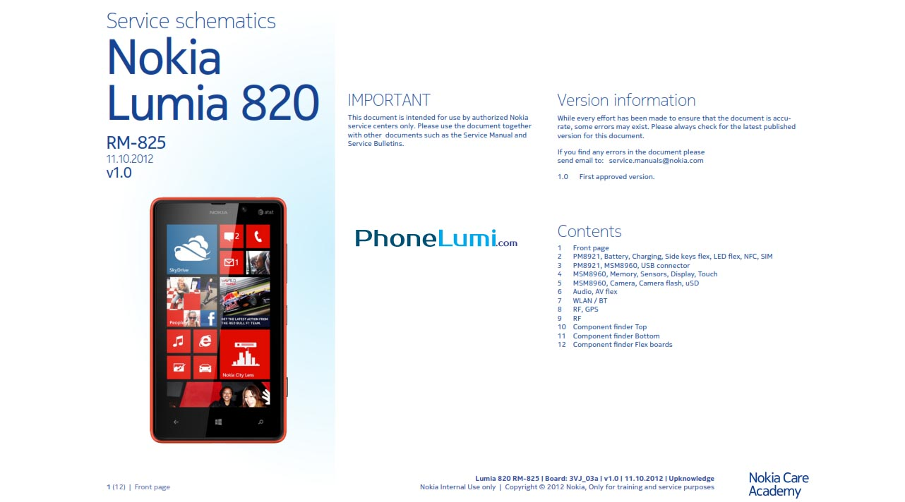 Nokia Lumia 820 RM-825 schematics