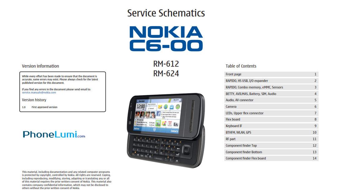 Nokia C6-00 RM-612 RM-614 schematics