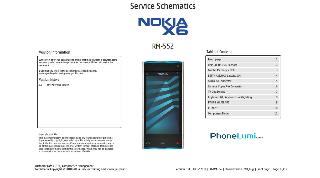 Nokia X6 RM-551 RM-552 RM-559 service schematics