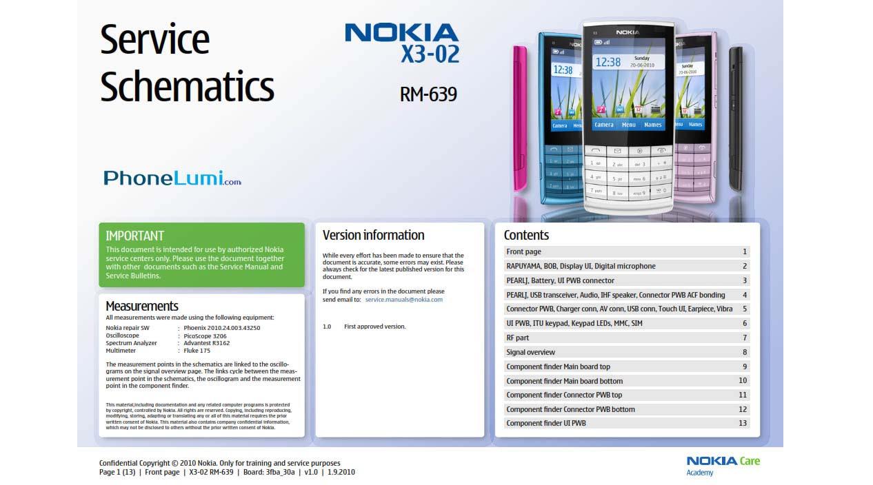 Nokia X3-02 RM-639 service schematics