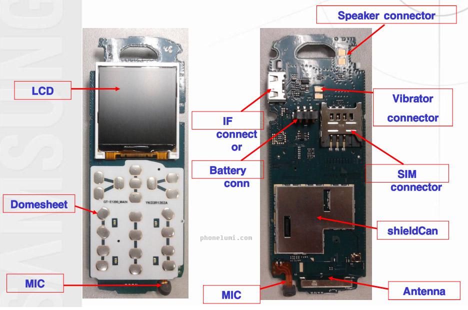 samsung-e1200-schematics-board