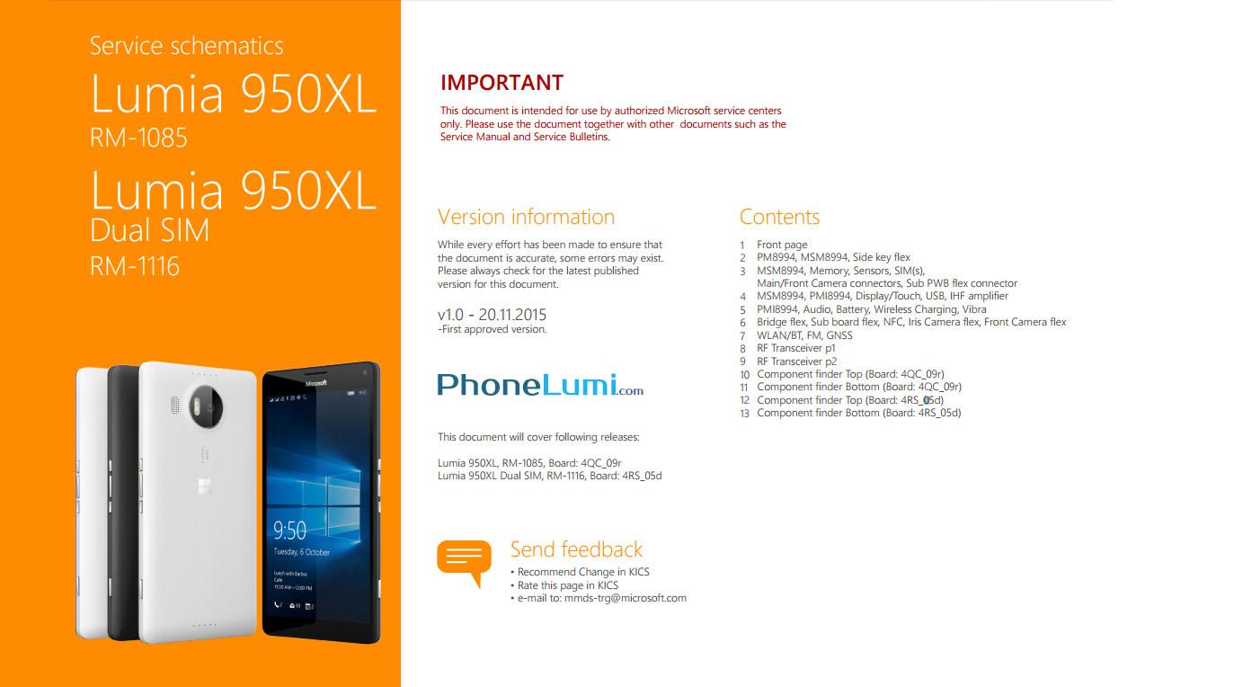 Microsoft Lumia 950XL service schematics